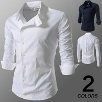 New 2014 autumn  high-quality casual dress shirt Men's leisure pure color long sleeve shirts men plus size M-3XL
