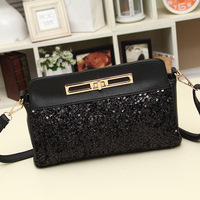New 2014 Fashion Women Evening bag sequin clutch bag for women Shoulder bag Small clutch wallet black tote bag SD3 free shipping
