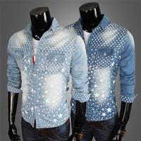 Free Shipping 2014 Fashion Mens Slim Fit Casual Shirt Five-pointed Stars Print Water Washed Denim Shirt Men Camisa Masculina