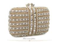 Ladies diamond gem evening bags women clutches handbag luxury sparkling white mini bag for wedding party good quality