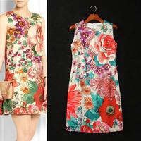 [REAL SHOT] FREE SHIPPING Flower Print Women Dress Sexy Elegant Party Dresses F-ML136