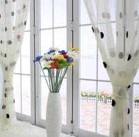 embroidered gauze polka dot white brief balcony curtain yarn window screening window curtain yarn living room
