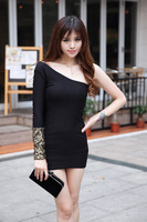 8260 noble ladies sexy elegant strapless one shoulder embroidery racerback slim hip slim one-piece dress