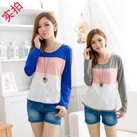 2014 spring and autumn fashion women's casual loose t-shirt women long-sleeve patchwork t-shirts woman cotton basic t shirt