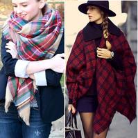2014 autumn women's fashion star style cashmere plaid thick large cape scarf 145*145cm