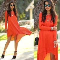 Fashion women's o-neck long-sleeve loose irregular fashion chiffon one-piece dress