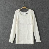 Women's 2014 back zipper brief raglan sleeve o-neck long-sleeve sweater shirt