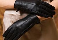Leather gloves female sheepskin gloves women's genuine leather gloves female winter thickening thermal