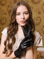 2014 Sheepskin genuine leather gloves women's thermal winter gloves thickening women's gloves Free shipping
