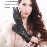 Genuine leather  thickening thermal gloves sheepskin women's gloves autumn and winter