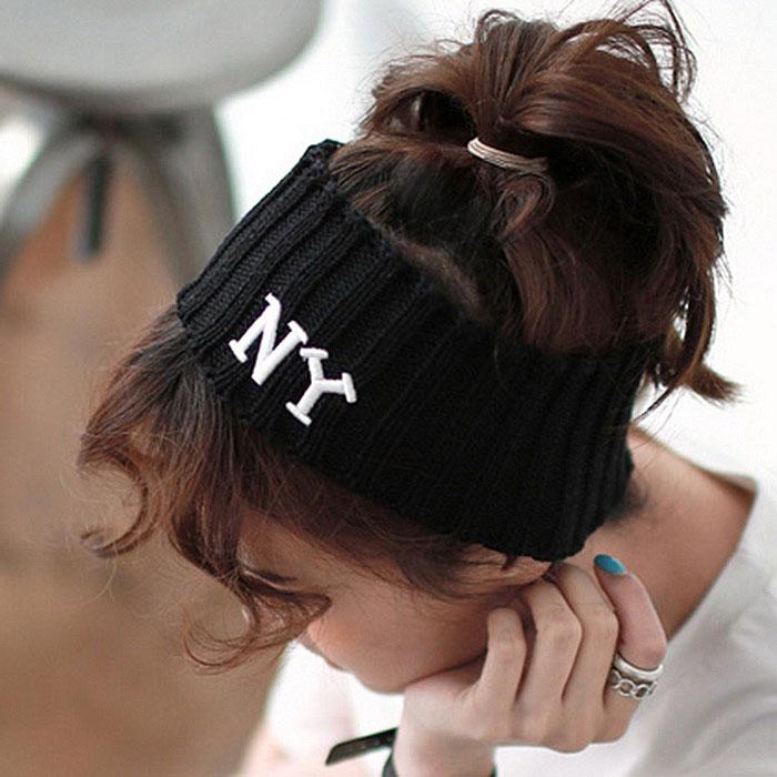 NY letter knitted yarn elastic wide ribbon headband sports casual knitted hairbands bandanas(China (Mainland))