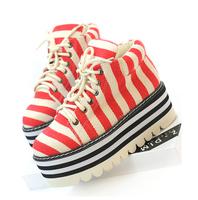 Fashion vintage stripe canvas women's high-top shoes casual shoes platform shoes wedges single shoes