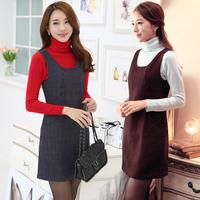 2014 girl autumn dress plus size S-XXL o- neck  houndstooth sleeveless tank casual dress basic  3 color