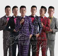 (Jacket + pants + bow tie ) 2014 New Fashion plaid Men suits slim groom wedding dress men's suit