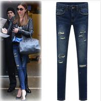 2014 New Autumn Winter Elastic Slim Denim Pencil Long Design Women Jeans Mid Waist Pencil Pants Trousers Skinny Jeans Women