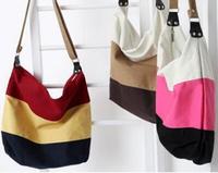 Unisex Color block big canvas messenger bags durable casual style student cross body handbag ZS0106