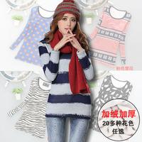 Plus velvet basic shirt winter women's o-neck slim thickening t-shirt female berber fleece thermal shirt top