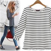 Autumn new arrival stripe navy style chiffon patchwork long-sleeve T-shirt