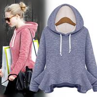 2014 autumn with a hood ruffle expansion bottom top long-sleeve basic shirt outerwear sweatshirt