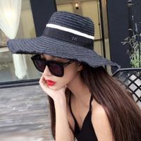 Black M Fashion Women Wide Large Brim Floppy Summer Beach Sun Straw Hat Cap Free Shipping