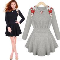 Autumn fashion one-piece dress long-sleeve lace decoration slim waist one-piece dress