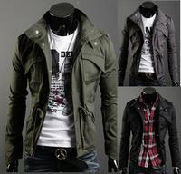 2014 Men's Fashion Brand Clothing ,Army Design Casual Men's Zipper Jackets,Autumn Quality Men's Slim Fit Coats Plus size M-XXL