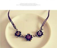 Free Shipping! Fashion Bohemia Temperament Crystal Gem Cubic Zircon Diamond Flower Necklace&Pendants For Women  A086