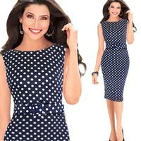 XXL Plus size 2014 Hot-selling fashion women's sleeveless polka dot elegant pencil dress with belt one-piece dress
