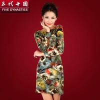 Fashion Women's 2014 Print knitted Dress Five Dynasties and Ten Kingdoms de Female Elegant Long Pullover Women Winter Dresses