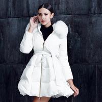 Stunning! New 2014 Brand Fashion Ladies White Fox Fur Hooded Fairy White Down Coat Dress Winter Parkas Free Shipping  F16390