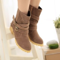 Autumn and winter preppy style round toe boots sweet buckle thick heel boots 2014 martin boots