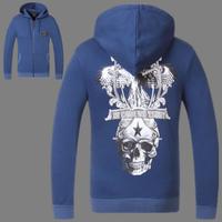 2014 brand new steel skeleton head printing Slim Hooded men's casual sweater pullover men outside 100% cottonman hoody hoodies