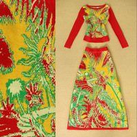 2014 Autumn European High Street Fashion Clothing Set Women's Long Sleeves Flower Crochet Pullover + Maxi Wool Knitted Skirt