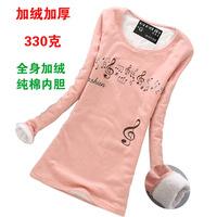 Thickening long-sleeve T-shirt women's thermal clothing plus velvet long design top basic shirt female shirt