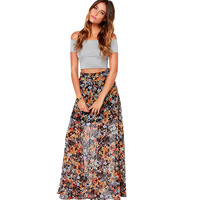 Vintage floral print chiffon skirt  floor high waist skirts 2014 new arrival fashion women skirts  haoduoyi