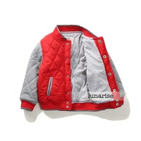 Blue/Red autumn boy's cotton-padded jacket child baseball uniform kids outerwear baby wadded jacket cotton-padded coat