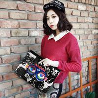 2014 New Fashion Punk Multicolored Owl Envelope Medium Size Handbag Rivet Women Single-shoulder Party Bag