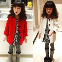 Rose Button Korean style child outerwear woolen overcoat  Children's jacket girl jacket outerwear autumn 2014
