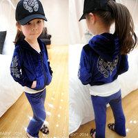 velvet sweatshirt casual sports child set Korean Style Children's hoodies female child set 2014 autumn Leisure sports coat