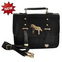2014 female vintage solid color PU magnetic buckle fashion one shoulder cross-body handbag