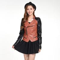 48 long-sleeve zipper Women PU clothing 43fr7102 slim autumn patchwork formal