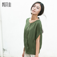 2014 knitted sweater short-sleeve zipper-up before and after two ways shirt women's