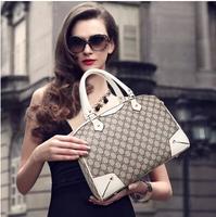 2014 Genuine Leather Women's Fashion Designer Handbags High Quality  Plaid Letter Brand Classic Vintage Style Clutch