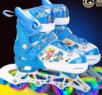 Skatse child full set adjustable flash inline skating shoes roller skates skating shoes