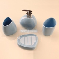 Acrylic Five pieces set of bathroom gift bathroom supplies kit  Sky Blue free shopping