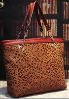 Luxury Leopard Grain 100% genuine leather bags for women big cross body handbag LG0105
