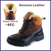 RAX Men Hiking Shoes Outdoor Super Warm Men Winter Boots Genuine Leather Boots Mountaineering Travel Trekking Shoes For Russian