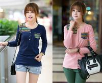 2014 autumn Fashion Women's long sleeve t-shirt women loose tops fashion basic t-shirt for woman t shirt free shipping
