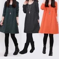 2014 autumn mm loose plus size clothing female long-sleeve t-shirt polka dot women's top basic shirt