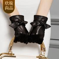 Autumn and winter thermal fashion sheepskin gloves women's elegant bow genuine leather gloves st6088